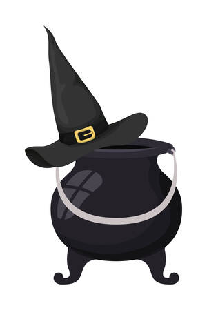 witch cauldron and hat icons vector illustration design