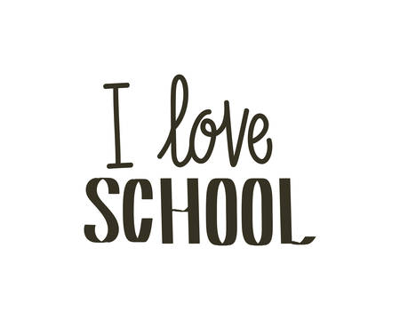 i love school label on white background vector illustration design