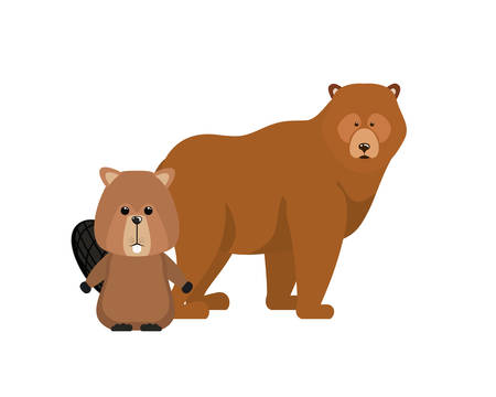Bear and beaver animal design, forest canada life nature and fauna theme Vector illustration