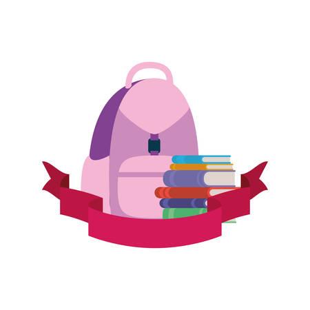 handbag school with notebooks and ribbon vector illustration design Stock Illustratie