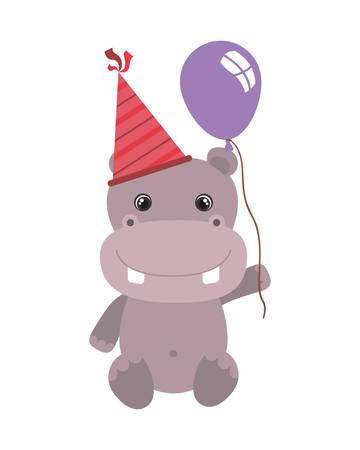 cute hippo with balloon helium vector illustration design