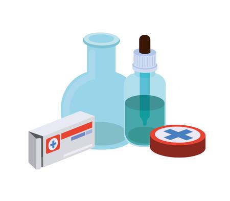 Laborinstrumente mit Medikamenten im weißen Hintergrundvektorillustrationsdesign Vektorgrafik