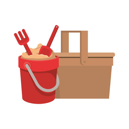 sand bucket with tools to play vector illustration design