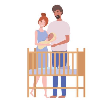 woman and man with newborn baby in the crib vector illustration design Standard-Bild - 130493904
