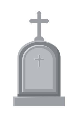 cemetery graveyard with cross vector illustration design Vector Illustratie