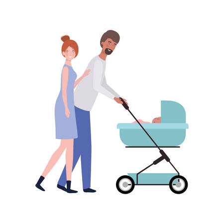 young couple standing with a newborn baby in pram vector illustration design Standard-Bild - 130493938