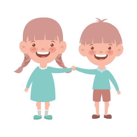 Pareja bebé de pie sonriendo sobre fondo blanco, diseño de ilustraciones vectoriales