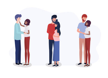 group of lovers couples pregnancy characters vector illustration design