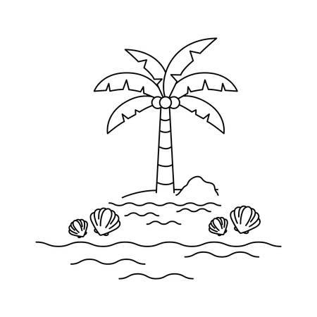 silhouette of palm tree with coconut in white background vector illustration design