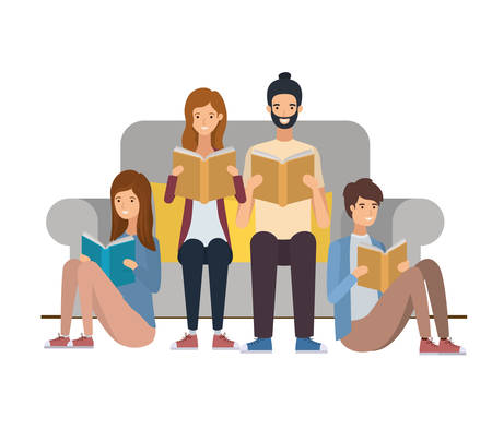 group of people sitting on chair with book in hands vector illustration design