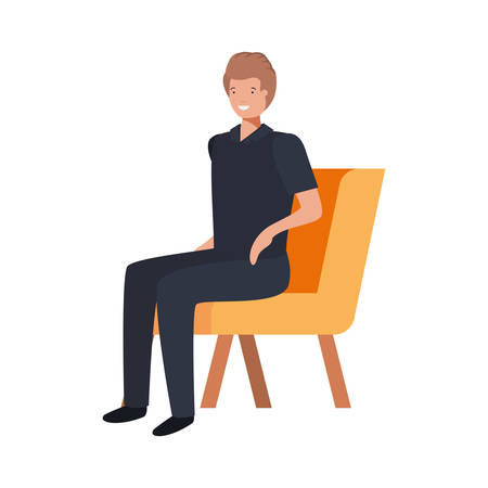 young man sitting in chair with white background vector illustration design Illustration