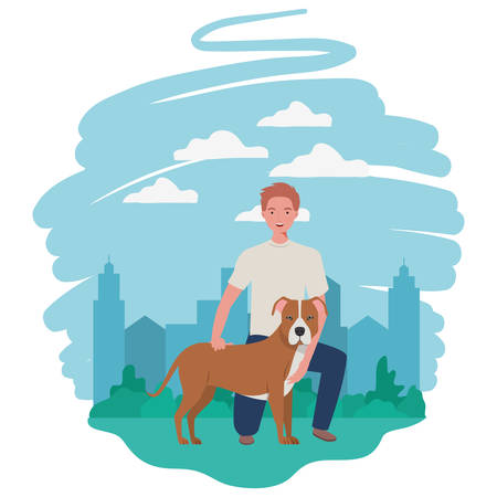 young man with cute dog mascot in the camp vector illustration design