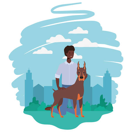 young afro man with cute dog mascot in the camp vector illustration design Illustration
