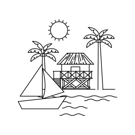 silhouette of house on the beach with white background vector illustration design