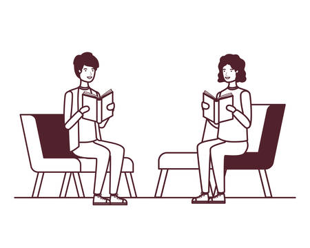 young men sitting in chair with white background vector illustration design