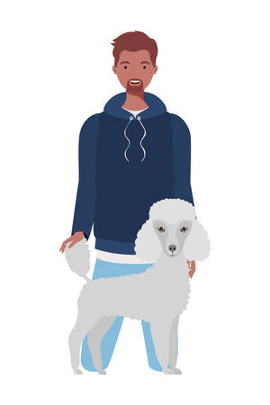 young afro man with cute dog mascot characters vector illustration design