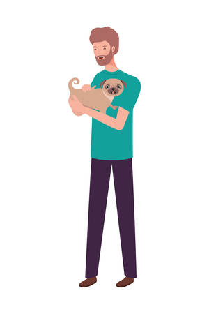 young man lifting cute dog mascot characters vector illustration design Illustration