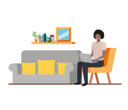 man sitting in the work office with white background vector illustration design