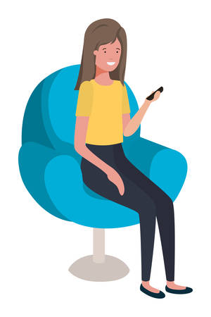 young woman seated in salon chair using smartphone vector illustration design