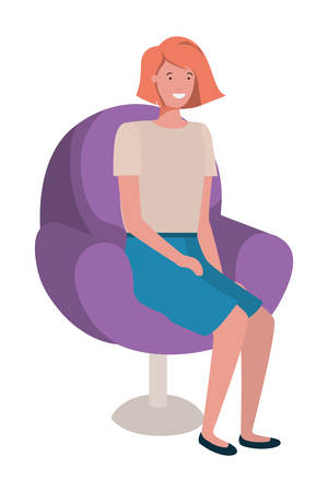 young woman seated in salon chair vector illustration design Stock Illustratie