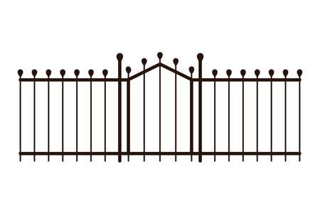 Cerca de la puerta de metal icono aislado diseño ilustración vectorial