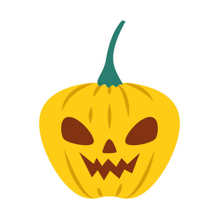 halloween pumpkin with dark face vector illustration design