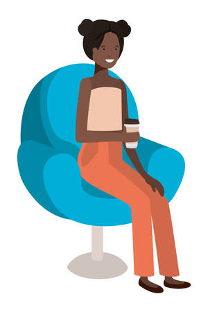 young afro woman seated in salon chair drinking beverage vector illustration design Stock Illustratie