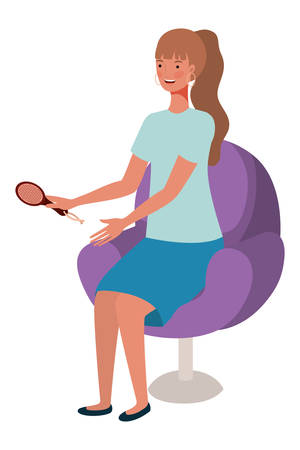 young woman seated in salon chair with comb vector illustration design Stock Illustratie