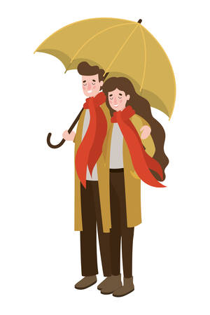 couple walking with autumn suit and umbrella characters vector illustration design