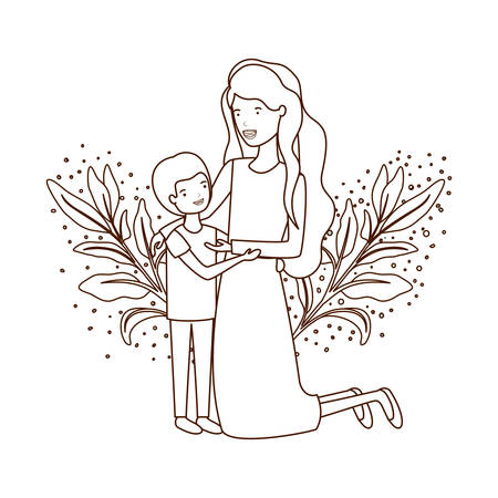 woman with son avatar character vector illustration design Standard-Bild - 130547761