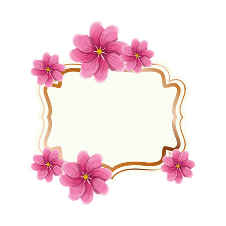 frame with flower isolated icon vector illustration design
