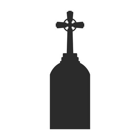 graveyard tombstone on white background vector illustration design Vector Illustratie