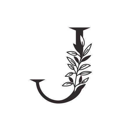 letter J of the alphabet with leaves vector illustration design