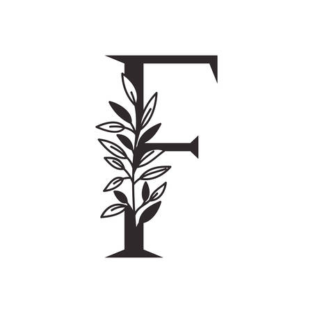 letter F of the alphabet with leaves vector illustration design