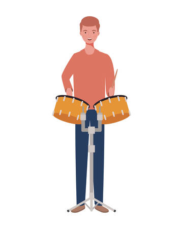 young man with timpani on white background vector illustration design