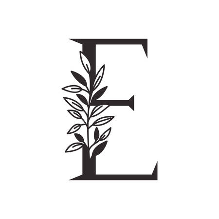 letter E of the alphabet with leaves vector illustration design