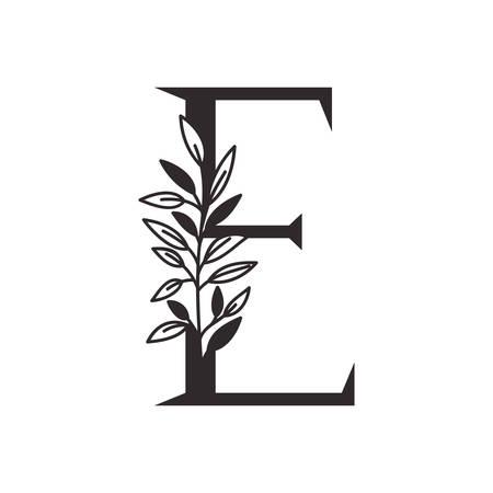 Lettre E de l'alphabet avec des feuilles de conception d'illustration vectorielle Vecteurs