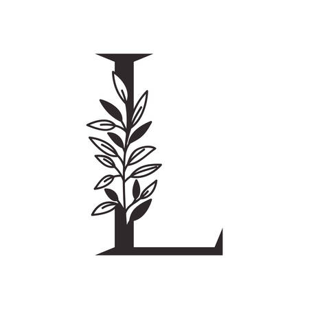 letter L of the alphabet with leaves vector illustration design