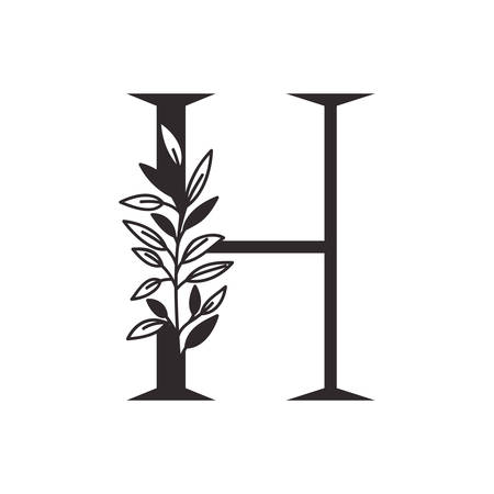 letter H of the alphabet with leaves vector illustration design