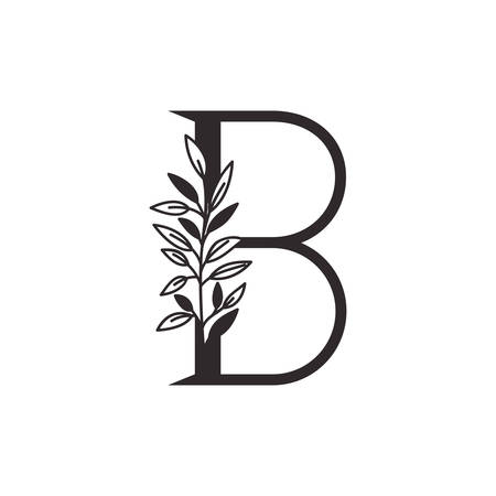 letter B of the alphabet with leaves vector illustration design