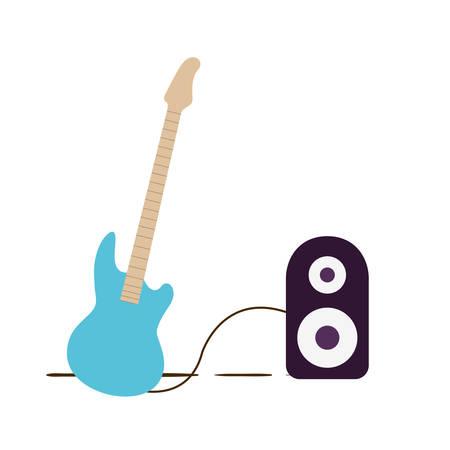 electric guitar with stereo speaker on white background vector illustration design Illustration