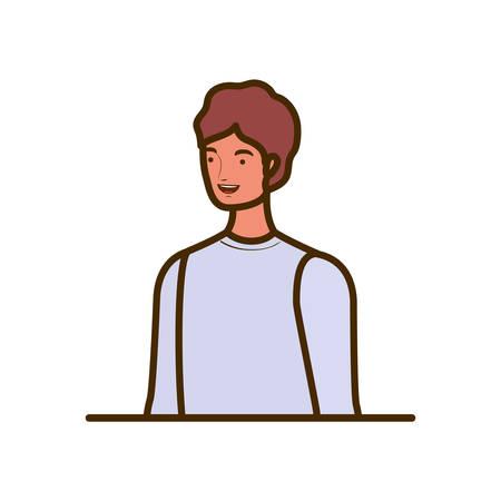 young man on white background vector illustration design Çizim