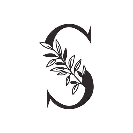 letter S of the alphabet with leaves vector illustration design