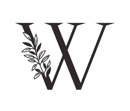 letter W of the alphabet with leaves vector illustration design
