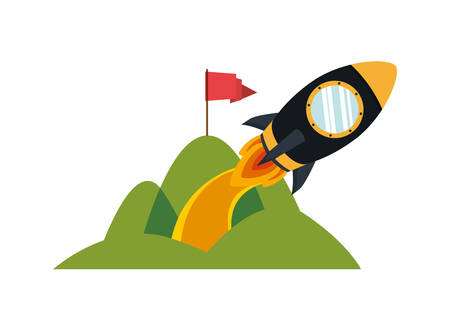 space rocket taking off from the mountain vector illustration design