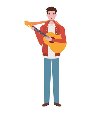 man with acoustic guitar on white background vector illustration design