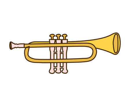 musical instrument trumpet on white background vector illustration design
