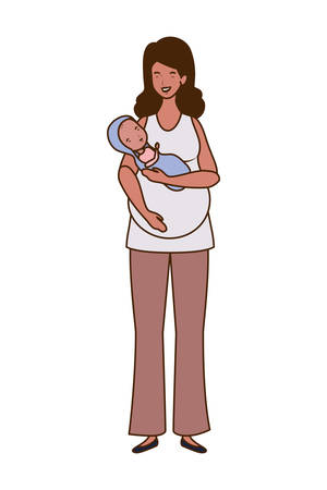 Mother with baby design, Child newborn childhood kid innocence and little theme Vector illustration