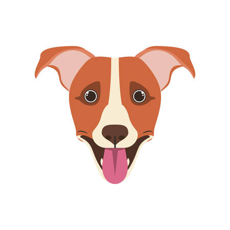 head of cute jack russell rerrier dog on white background vector illustration design Stock Illustratie