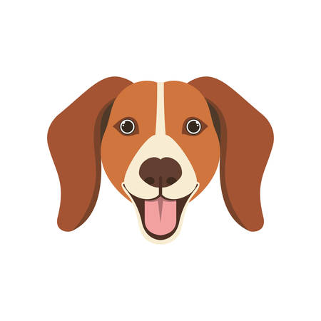 head of cute beagle dog on white background vector illustration design